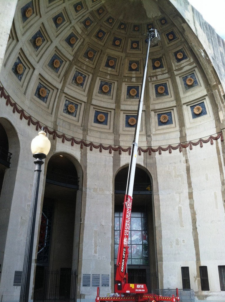 Globe Window Cleaning using our Denka Lift to Clean the Rosettes at OSU stadium