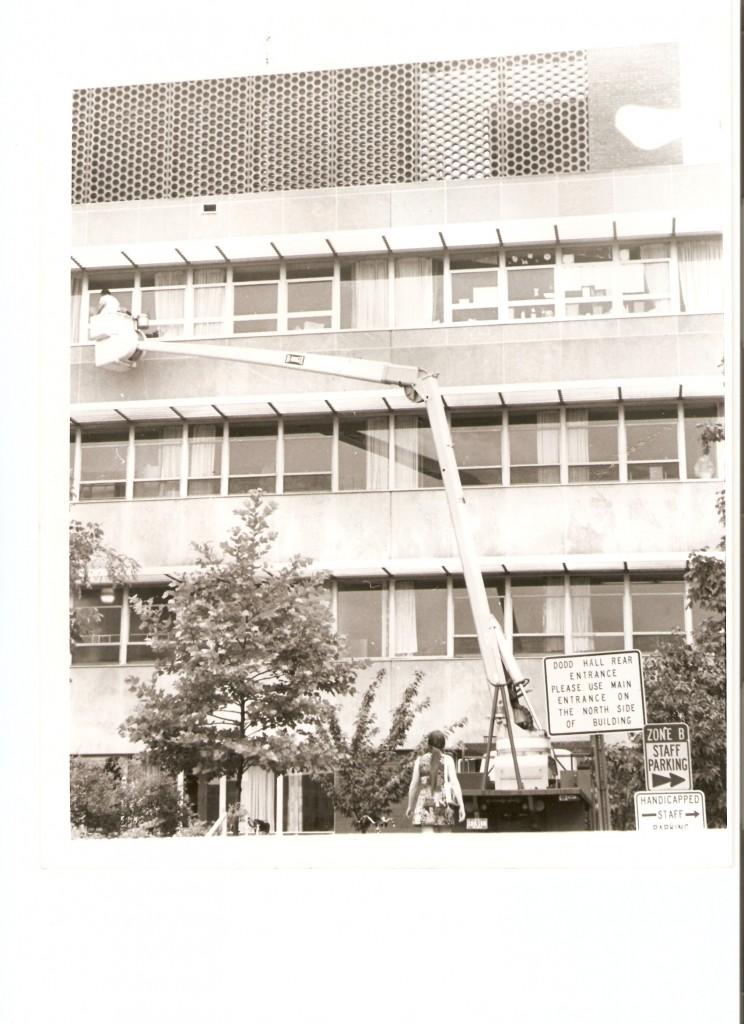 Washing windows 40 years ago - Columbus Ohio's window washers, Globe Window Cleaning, Inc. washing windows at The Ohio State University Medical Center in 1971