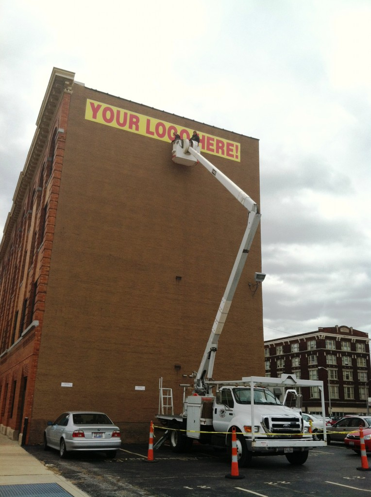At Globe Window Cleaning, your premier window cleaners and washers in Columbus, Ohio, we also utilize our bucket truck and other high reaching equipment to hang banners and signs.